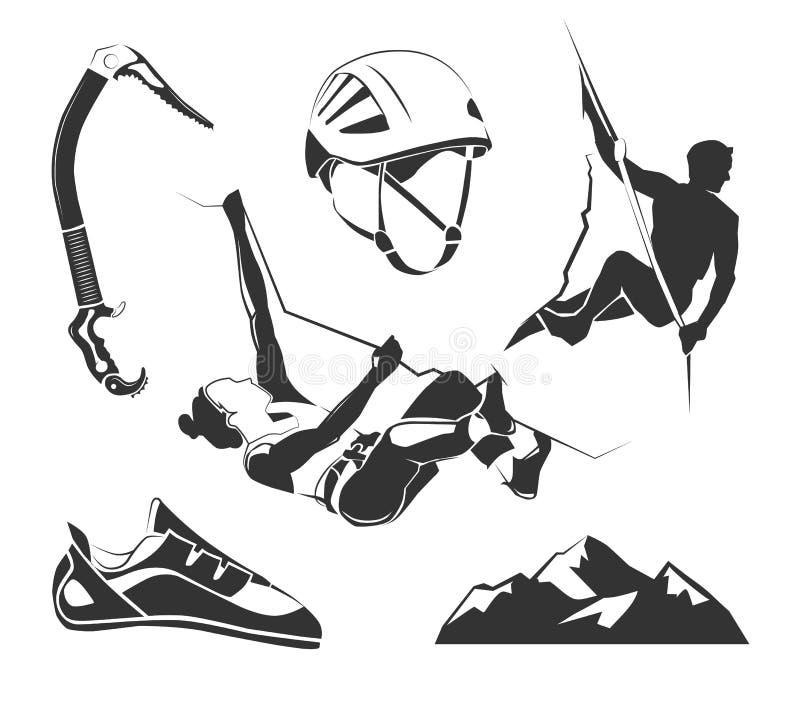 Vector gli elementi per la scalata, il trekking, facente un'escursione, etichette di alpinismo royalty illustrazione gratis
