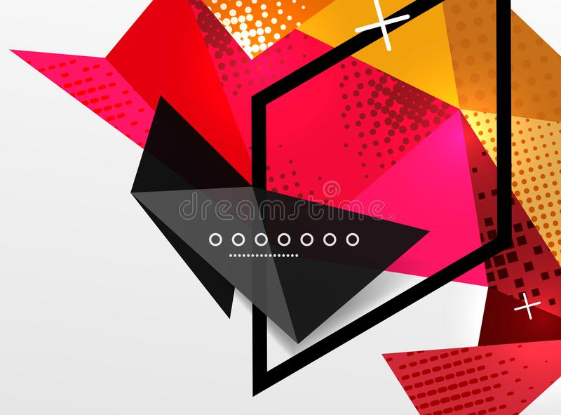 Vector gli elementi triangolari e poligonali astratti geometrici della composizione in colore, di progettazione, fondo digitale illustrazione vettoriale