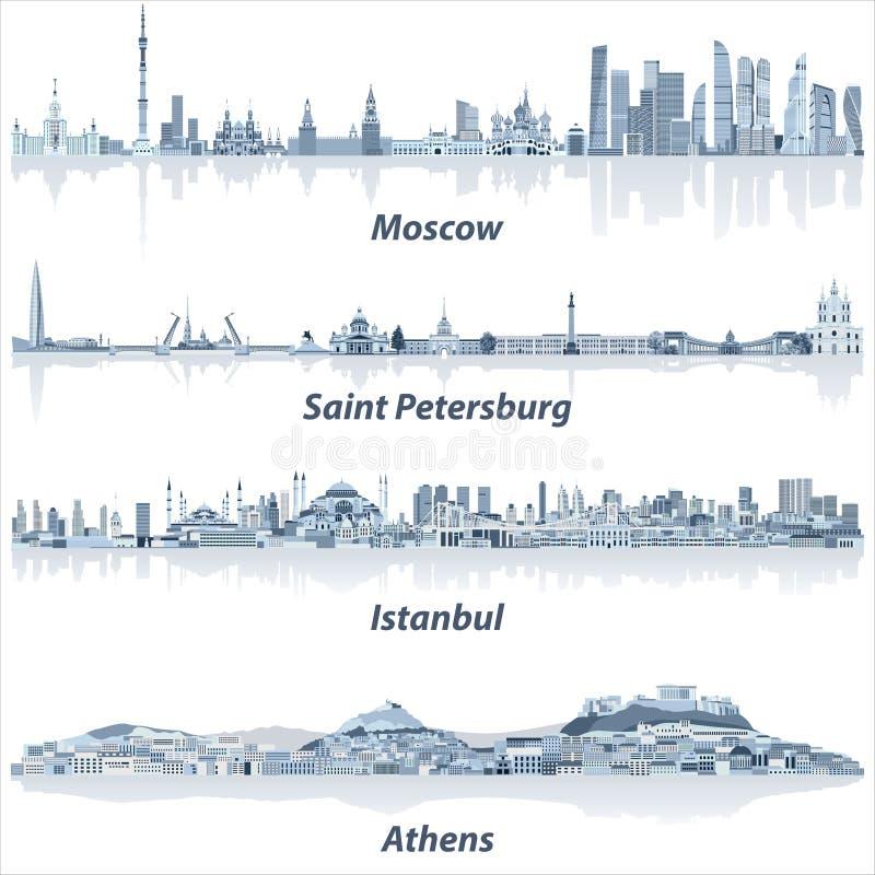 Vector gli orizzonti delle città di Mosca, di San Pietroburgo, di Costantinopoli e di Atene in tavolozza di colore blu molle royalty illustrazione gratis