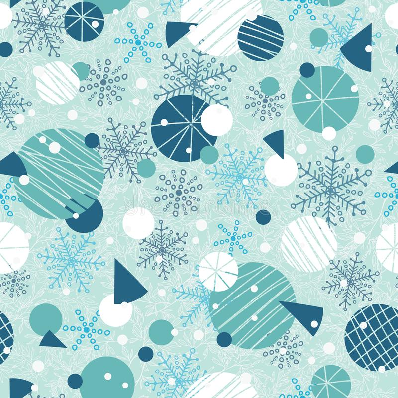 Vector gli ornamenti astratti bianchi del blu di vacanza invernale, ed il fondo senza cuciture del modello di ripetizione delle s royalty illustrazione gratis