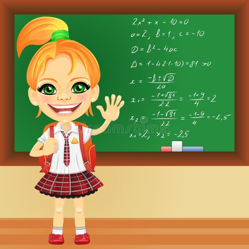 Vector glimlachend schoolmeisje dichtbij bord vector illustratie