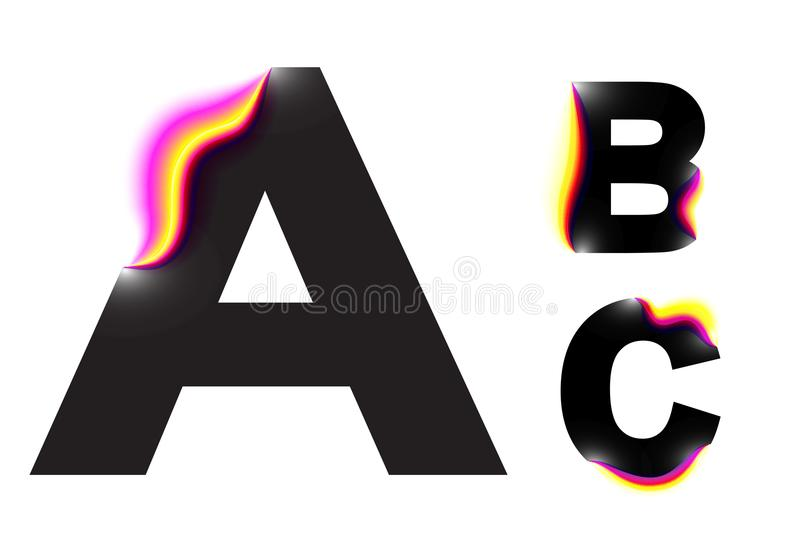 Vector glitch alphabet design.Neon colorful glitch style.Black bold font,abstract type for creative heading,advertising placard.ne vector illustration