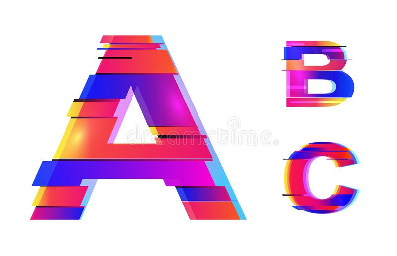 Vector glitch alphabet design.Neon colorful glitch style.Colofrul bold font,abstract type for creative heading,advertising placard stock illustration