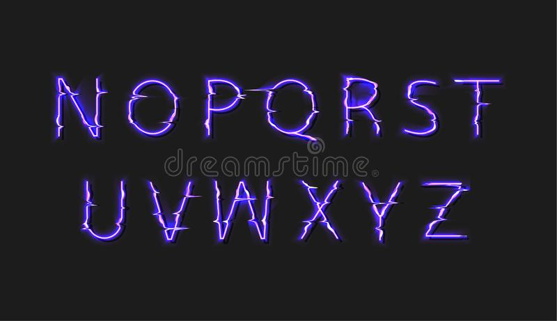 Vector Glitch Distortion Glowing Font, Purple Bright Color, Second Part of the Alphabet Isolated on Black Background. royalty free illustration