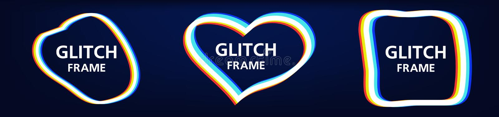 Vector glitch frames set. Geometric shapes with Tv distortion effect. Dynamical colored forms and line. Gradient abstract banners with flowing liquid shapes vector illustration