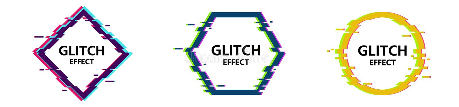 Vector glitch frames set. Geometric shapes with Tv distortion effect. Dynamical colored forms and line. Gradient abstract banners with flowing liquid shapes royalty free illustration