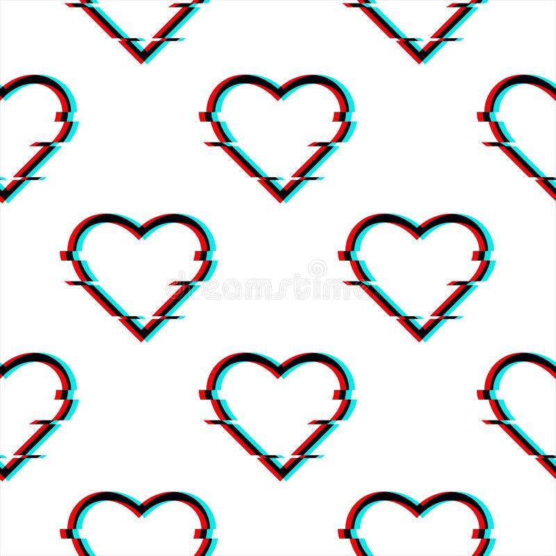 Vector glitched seamless pattern with symbol of heart in glitch style. Icon of love isolated on white background. Modern royalty free illustration