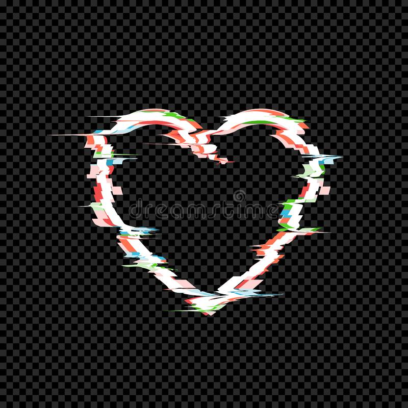 Vector Glitches on the Heart Icon, Technology Effect, TV Distortion, Retro Style Illustration Isolated. Vector Glitches on the Heart Icon, Technology Effect, TV stock illustration