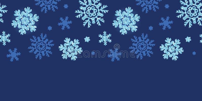 Vector glitter snowflakes dark horizontal border vector illustration