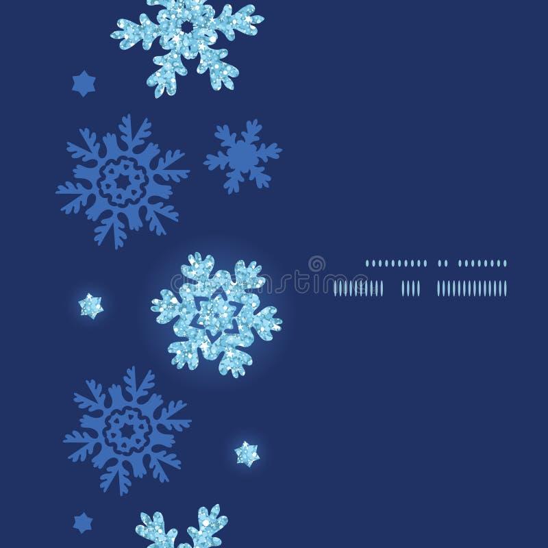 Vector glitter snowflakes dark vertical frame royalty free illustration