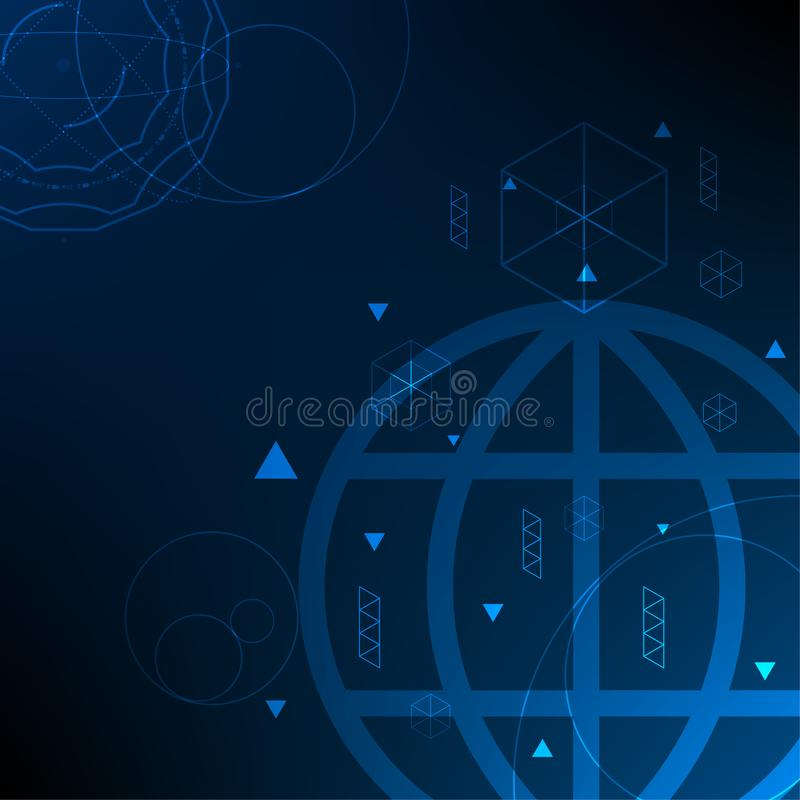 Vector global digital science technology network connection, abstract background stock illustration