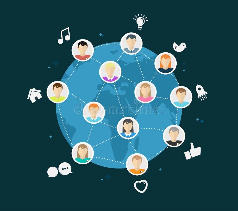Vector global en línea de la comunidad con los iconos del app ilustración del vector