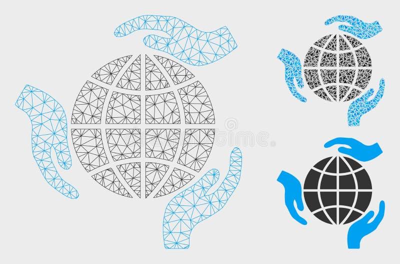 Vector global Mesh Wire Frame Model de la protección e icono del mosaico del triángulo ilustración del vector