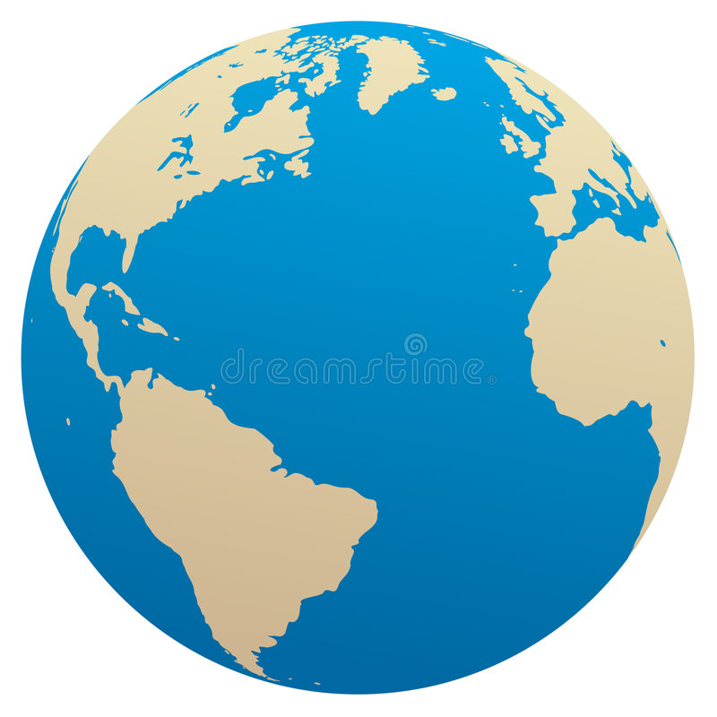 Vector globe / Atlantic ocean stock illustration