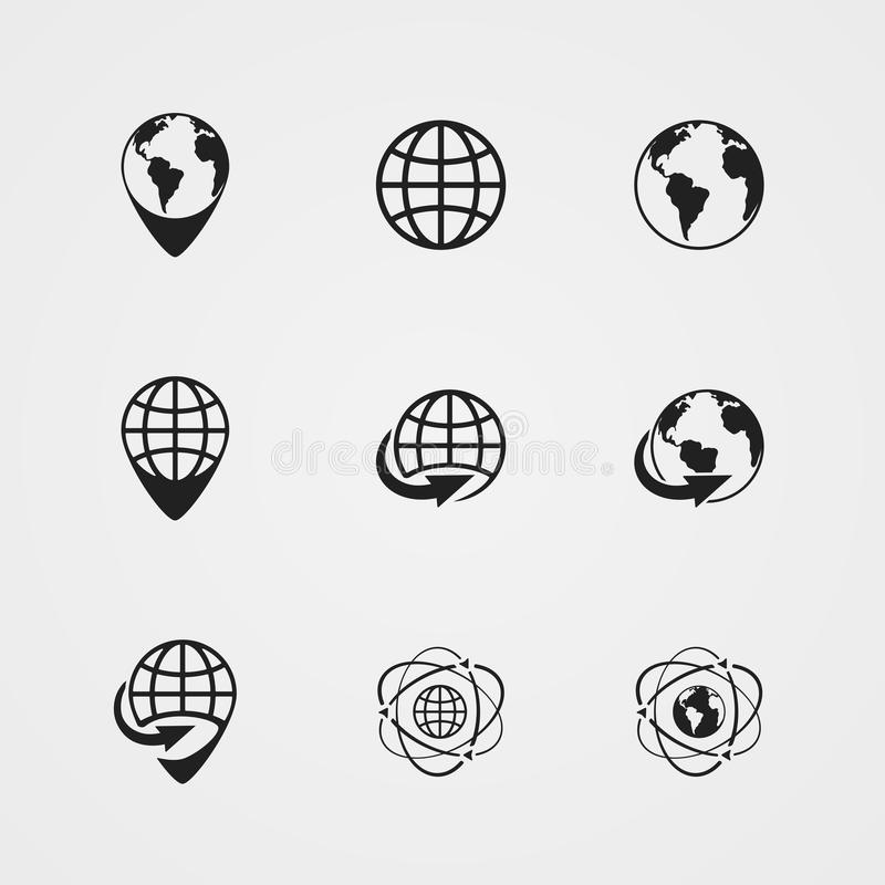 Vector globe earth icons set royalty free illustration
