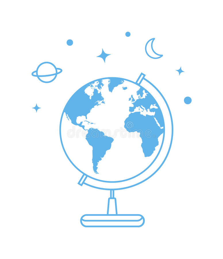 Vector globe icon. Line illustration royalty free illustration
