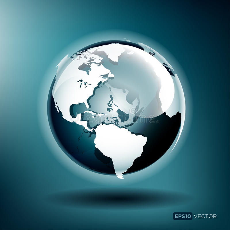 Vector Globe. Vector illustration of a glossy globe on a blue background