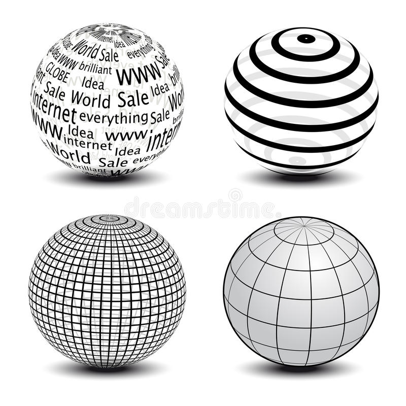 Vector globes. Set of various globes - vector illustration stock illustration