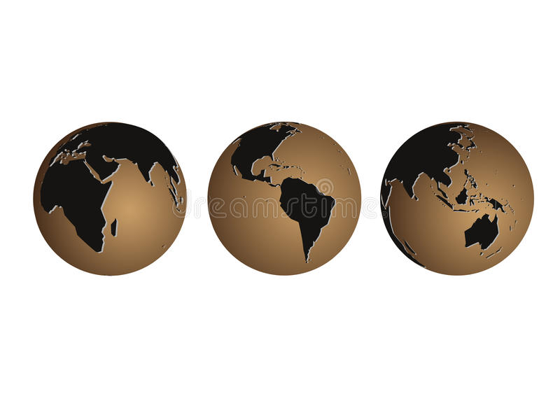 Vector globes. Vector illustration of three globes with different areas world vector illustration