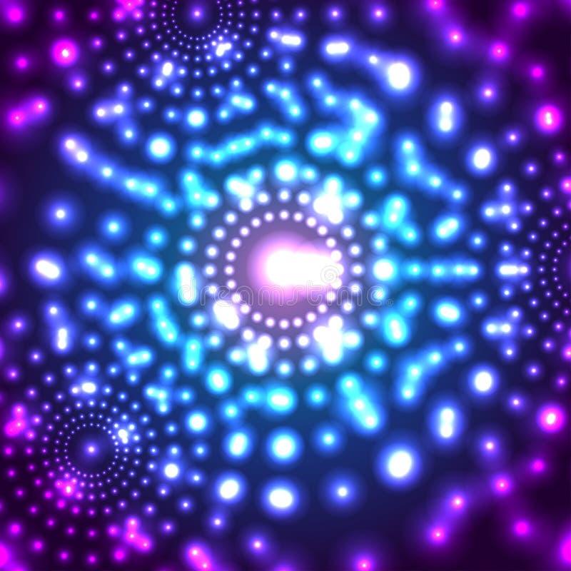 Vector gloeiende micro- kosmosachtergrond stock illustratie