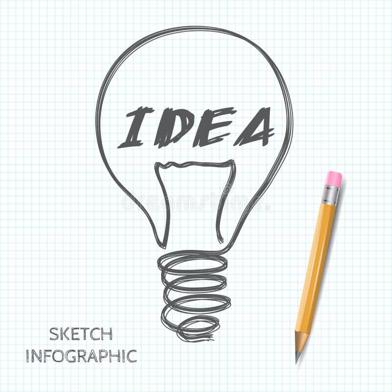 Vector gloeilampenpictogram met concept idee stock illustratie