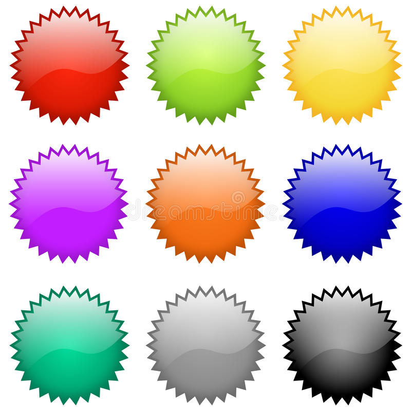 Vector Glossy Badges and Emblems stock photos
