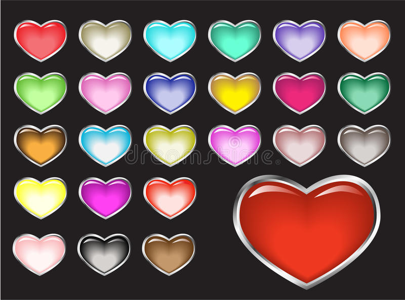 Vector glossy buttons, hearts vector illustration