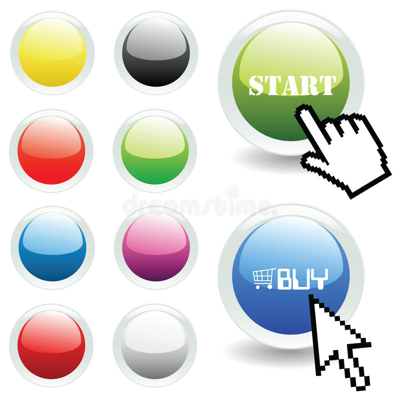 Vector Glossy Buttons With Mouse And Hand Pointer Royalty Free Stock Image