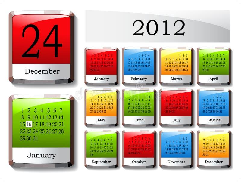 vector glossy calendar 2012 stock illustration