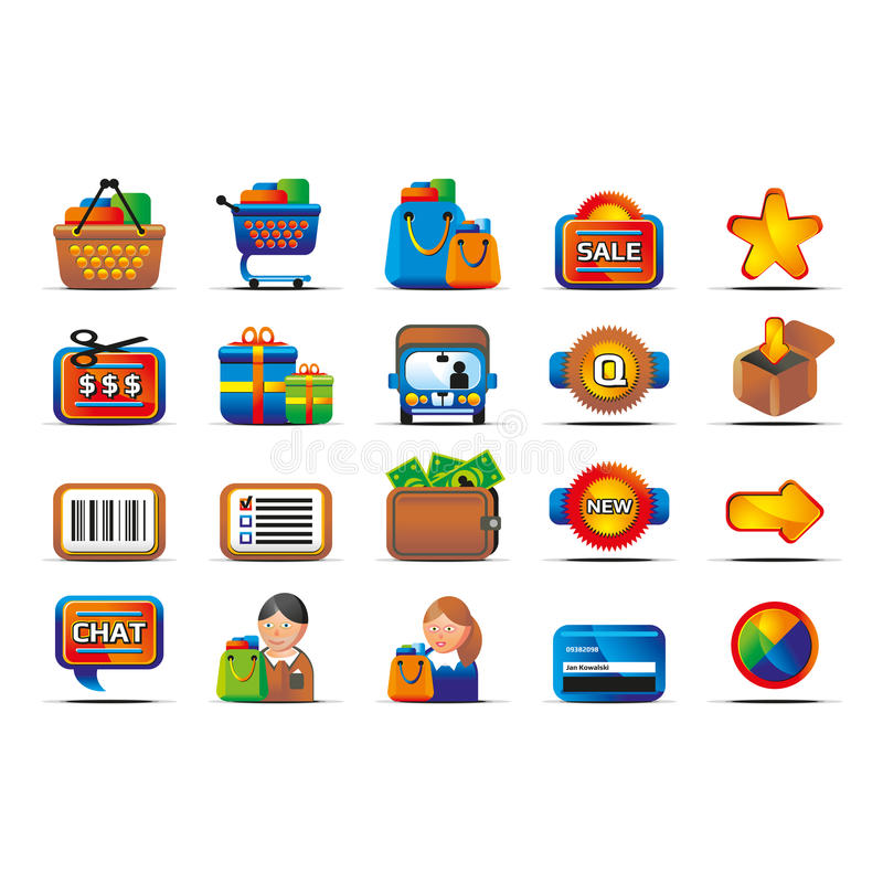 Download Vector Glossy Ecommerce Icon Set Stock Illustration - Image: 22503027