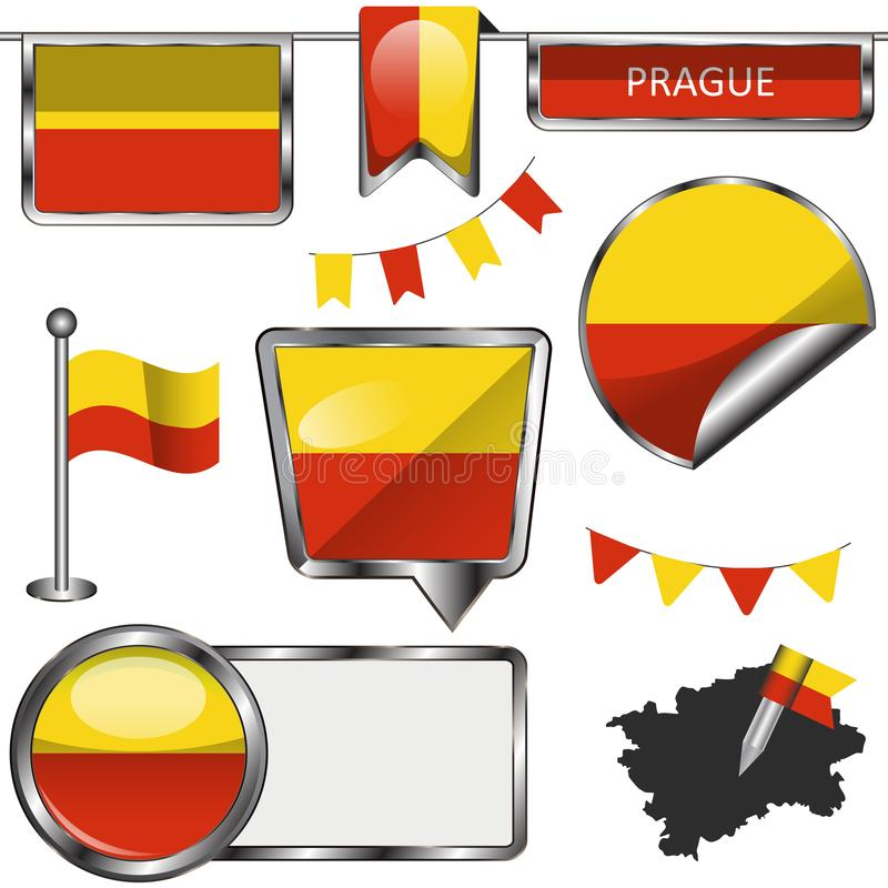 Glossy icons with flag of Prague royalty free illustration