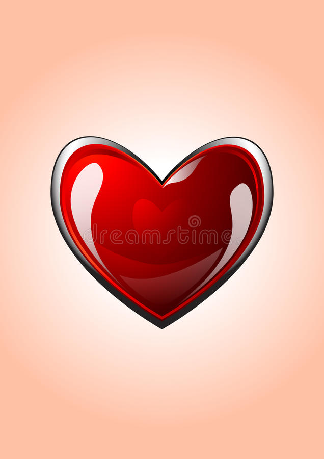 Vector glossy red heart stock illustration