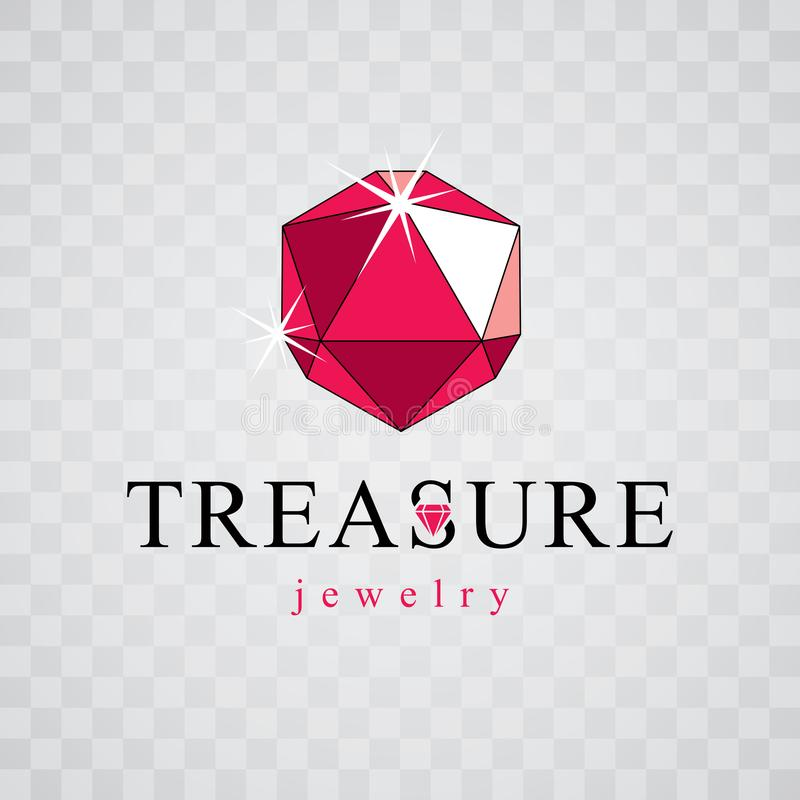 Vector glossy red ruby. Brilliant jewelry sign emblem, illustration. royalty free illustration