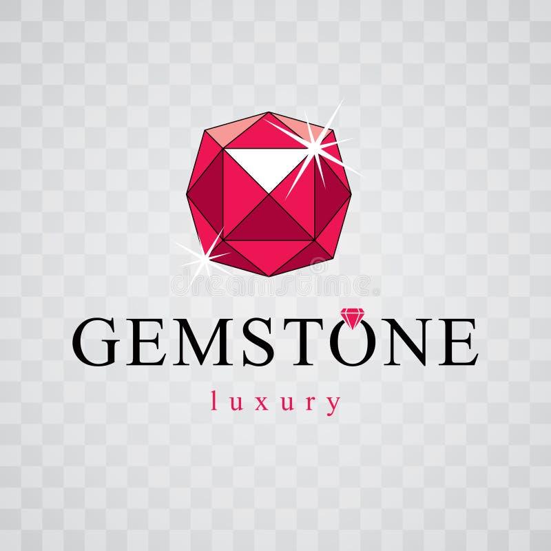 Vector glossy red ruby. Luxury diamond sign emblem, logo. Brilliant jewelry illustration. vector illustration