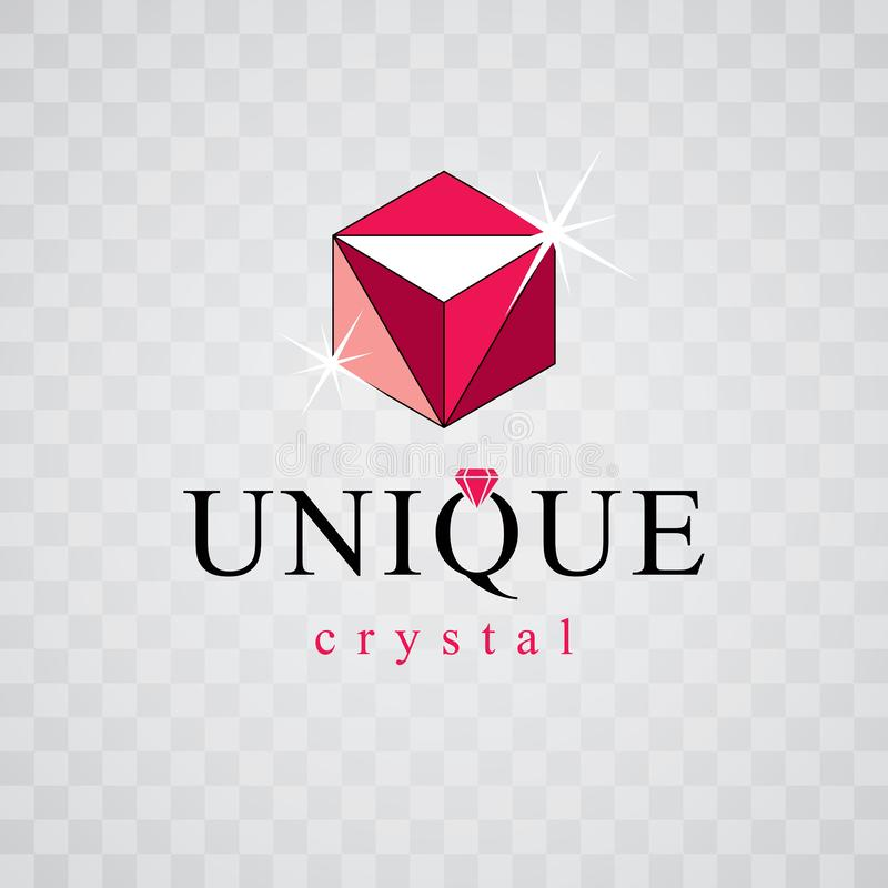 Vector glossy red ruby. Luxury diamond sign emblem, logo. Brilliant jewelry illustration. royalty free illustration