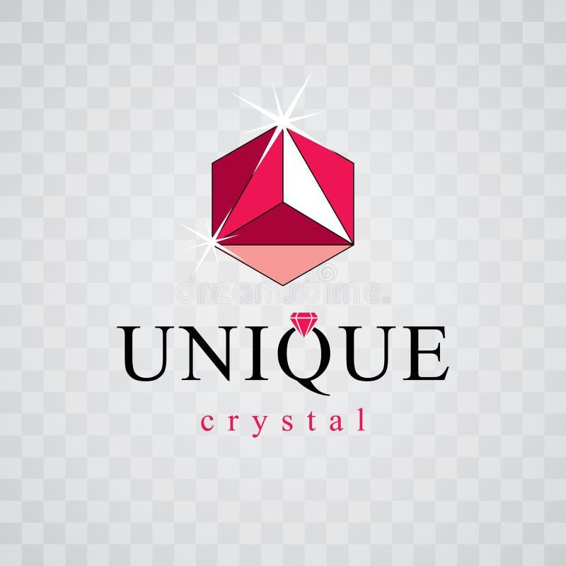 Vector glossy red ruby. Luxury diamond sign emblem, logo. Brilliant jewelry illustration. stock illustration