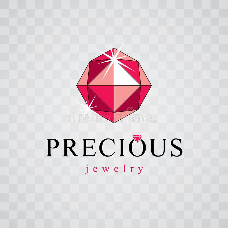 Vector glossy red ruby. Luxury diamond sign emblem, logo. Brilliant jewelry illustration royalty free illustration