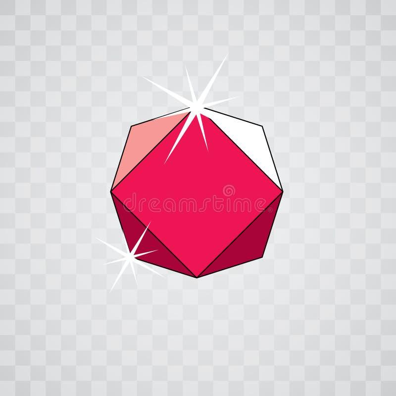 Vector glossy red ruby symbol. Luxury diamond icon, illustration.  stock illustration