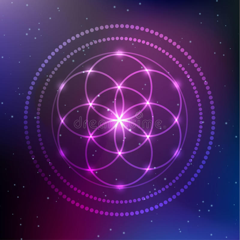 Vector Glowing Flower of Life Symbol Illustration. Vector Glowing Flower of Life Symbol stock illustration