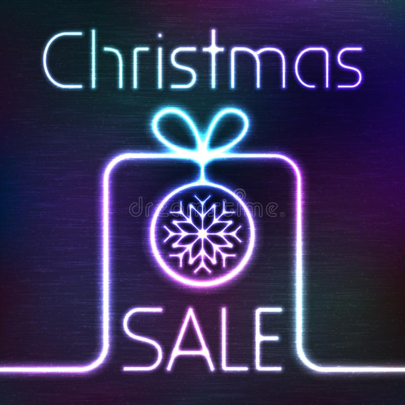 Vector Glowing Gift Box and Christmas Sale Words. Vector Glowing Icon of Gift Box and Christmas Sale Words. Neon Sale Tag Shining on Dark Colorful Grunge vector illustration