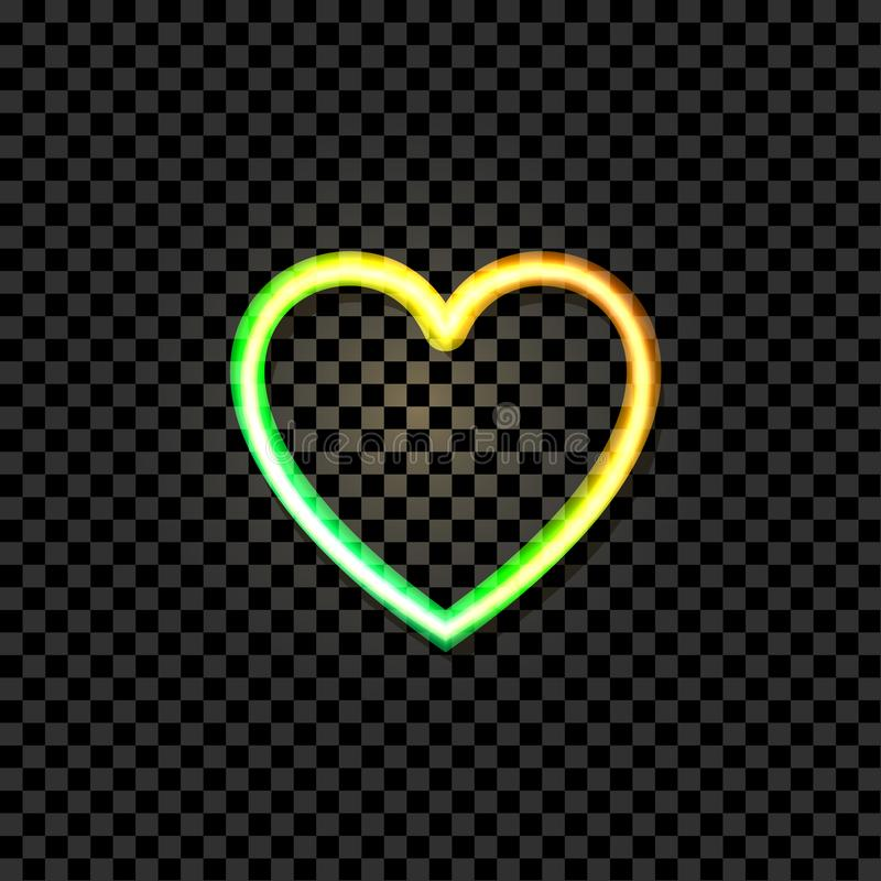 Vector Glowing Heart Icon, Neon Illustraton, Yellow and Green Bright Colors, Object Isolated. vector illustration