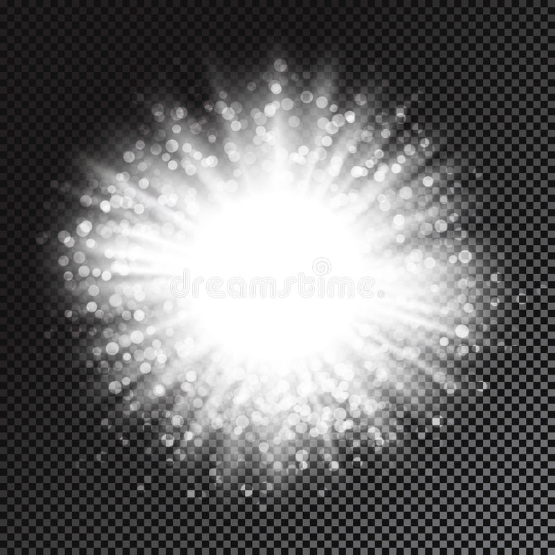 Vector glowing light effect with rays and glitters. Vector magic glowing radial light effect with rays and glitters isolated on transparent background for royalty free illustration