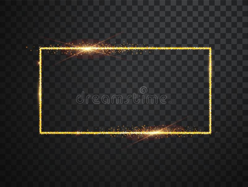 Vector glowing magic square frame. Glowing neon fire wave. Glitter sparkle trail effect on dark transparent background. royalty free illustration