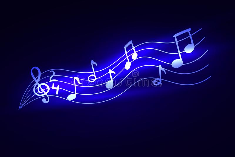 Vector Glowing Music Notes, Magic Lights, Sparkle Illustration Background. royalty free illustration
