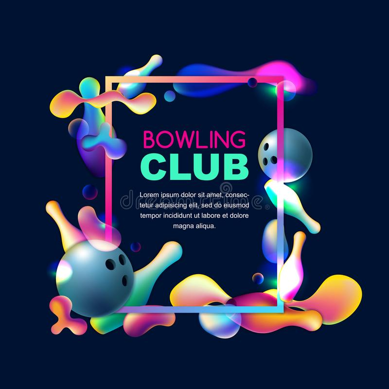 Vector neon bowling background. Frame with multicolor 3d bowling balls and pins on black background. Vector glowing neon bowling background. Frame with royalty free illustration