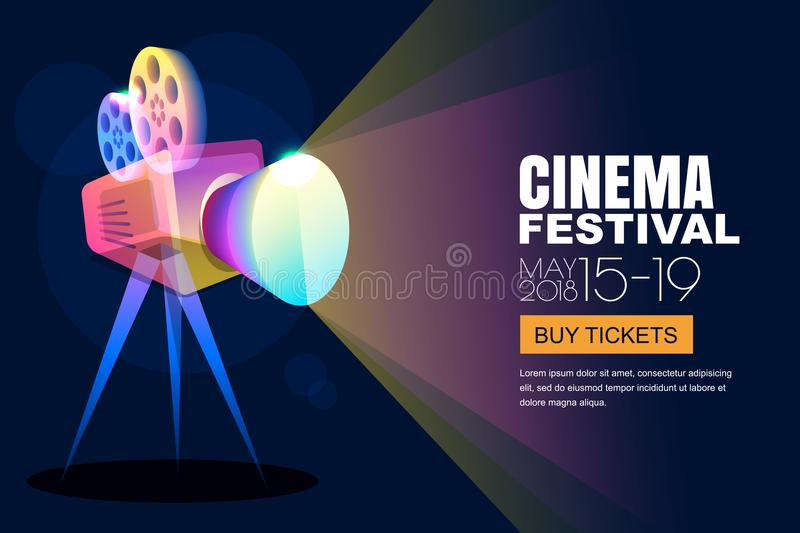 Vector glowing neon cinema festival poster or banner background. Colorful 3d style movie camera with film spotlight. royalty free illustration