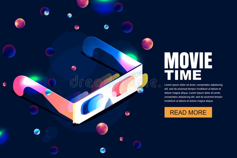 Vector glowing neon cinema, movie illustration. 3d glasses in isometric style on abstract night cosmic sky background. vector illustration