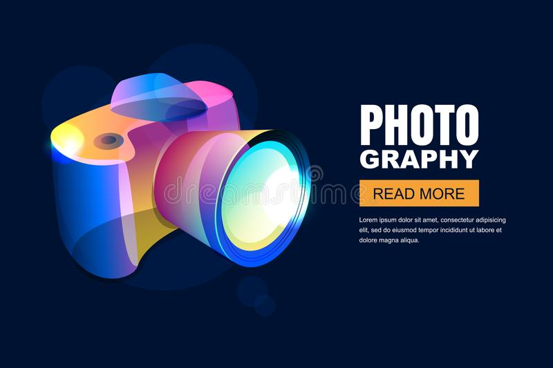 Vector glowing neon photo studio poster or banner background. Colorful 3d style photo camera. stock illustration