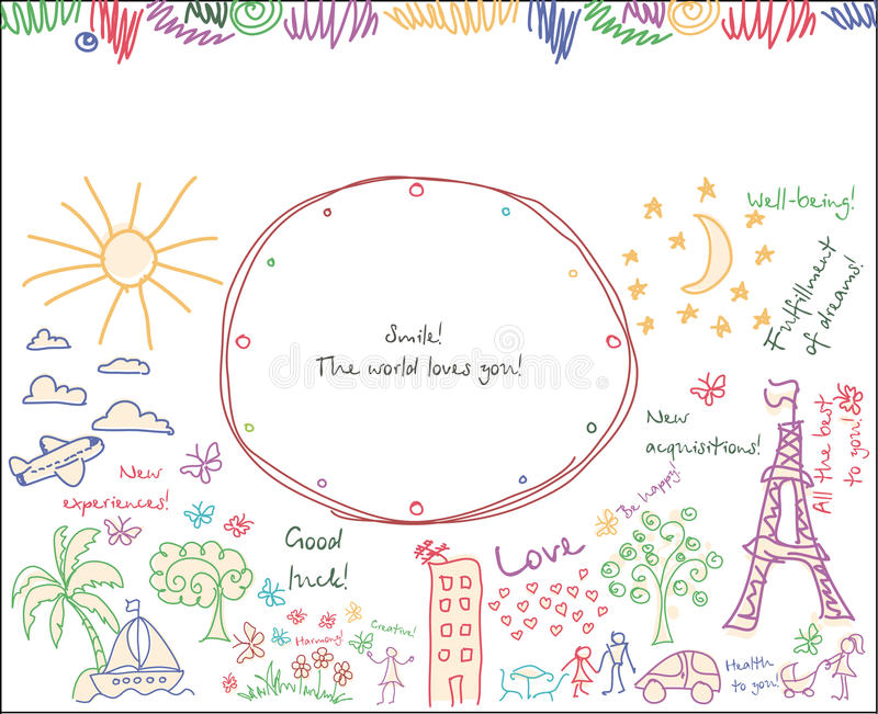 Vector Goals dreams and wishes background. Doodle Goals dreams and wishes Vector background. Drawing your background of happy life vector illustration