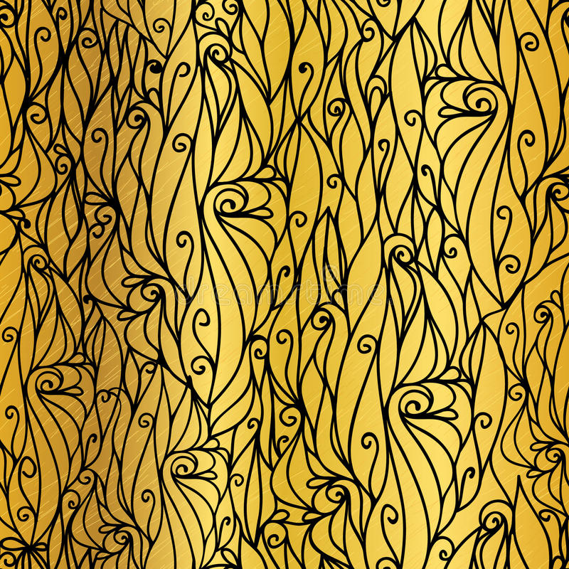 Vector Gold and Black Abstract Scrolls Swirls Seamless Pattern Background. Great for elegant gold texture fabric, cards. Wedding invitations, wallpaper stock illustration